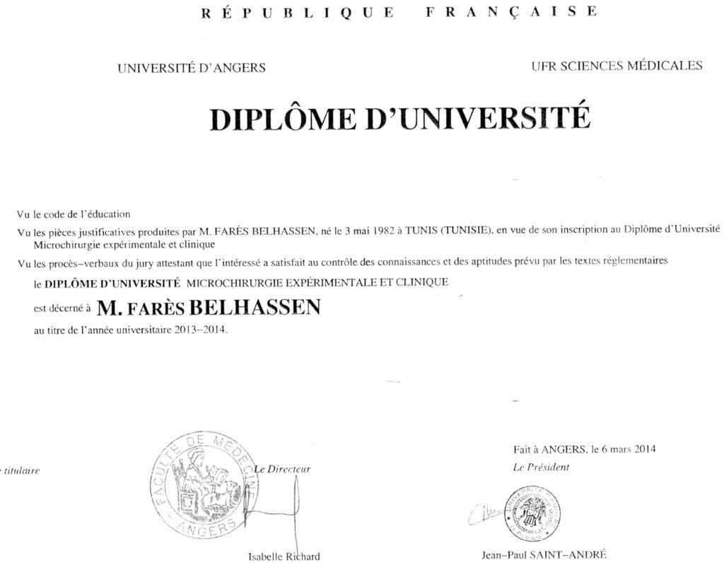CURRICULUM VITAE DR BELHASSEN - Cabinet Dr Fares BELHASSEN ...